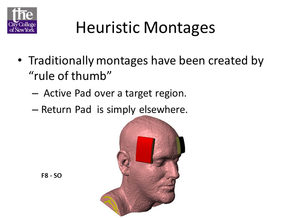 Heuristic Montages Traditionally montages have been created by rule of thumb Active Pad over a target region.