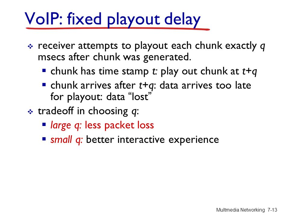 VoIP: fixed playout delay