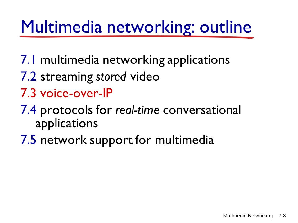 Multimedia networking: outline