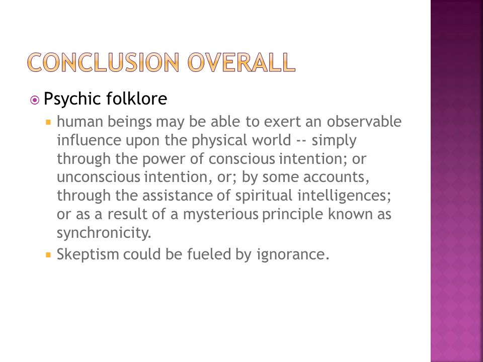 Conclusion overall Psychic folklore