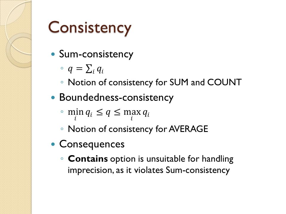 Consistency Sum-consistency Boundedness-consistency Consequences