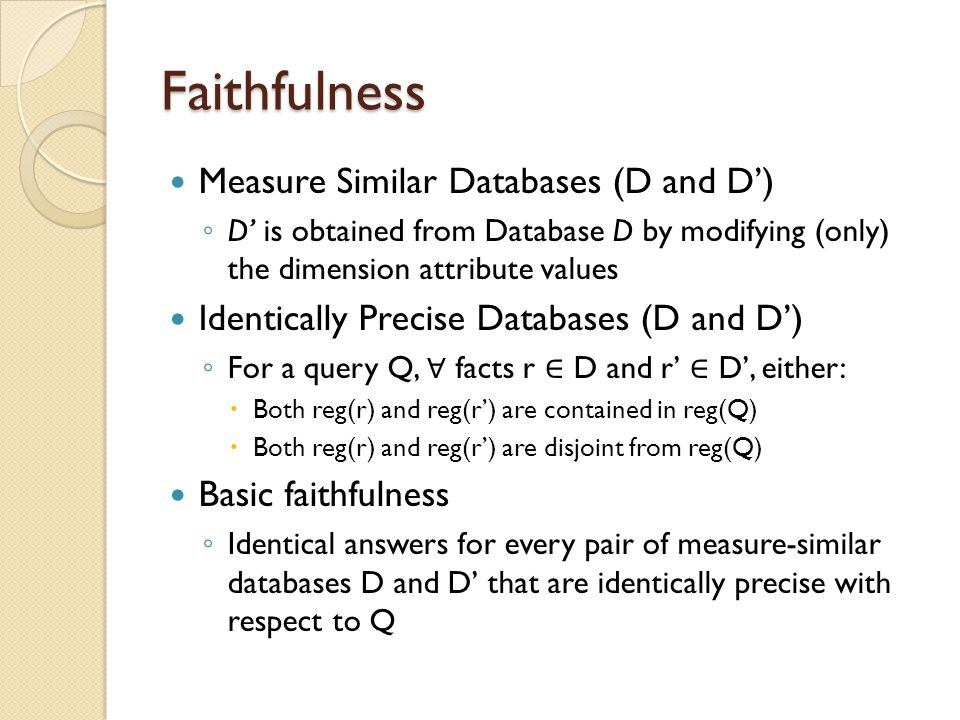 Faithfulness Measure Similar Databases (D and D')