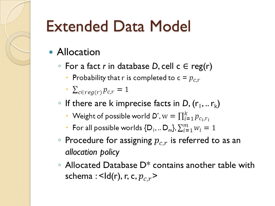 Extended Data Model Allocation