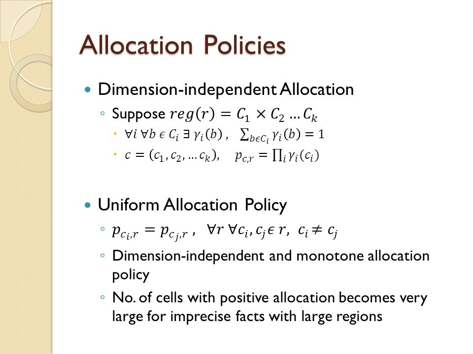 Allocation Policies Dimension-independent Allocation