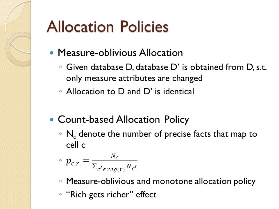 Allocation Policies Measure-oblivious Allocation