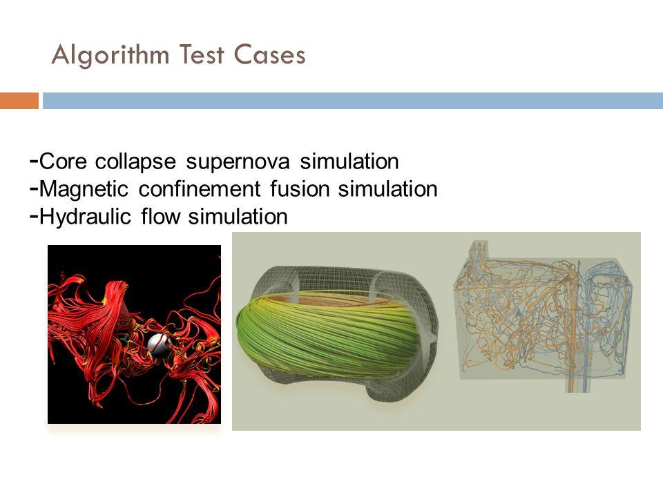 Algorithm Test Cases Core collapse supernova simulation