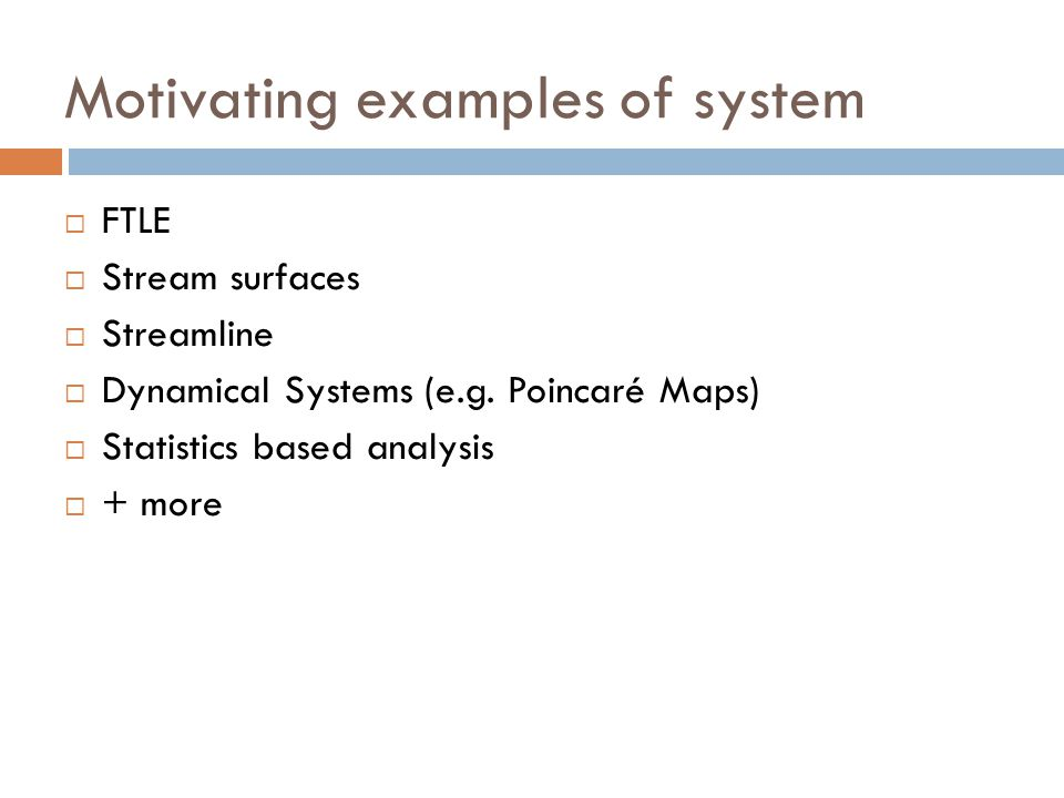 Motivating examples of system
