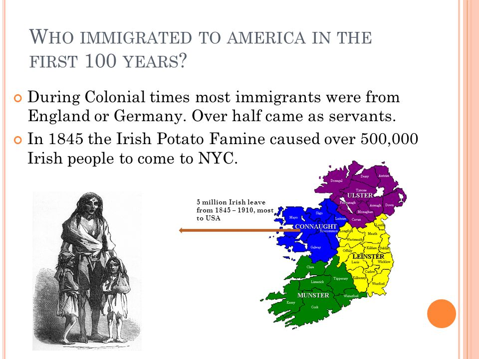 Who immigrated to america in the first 100 years