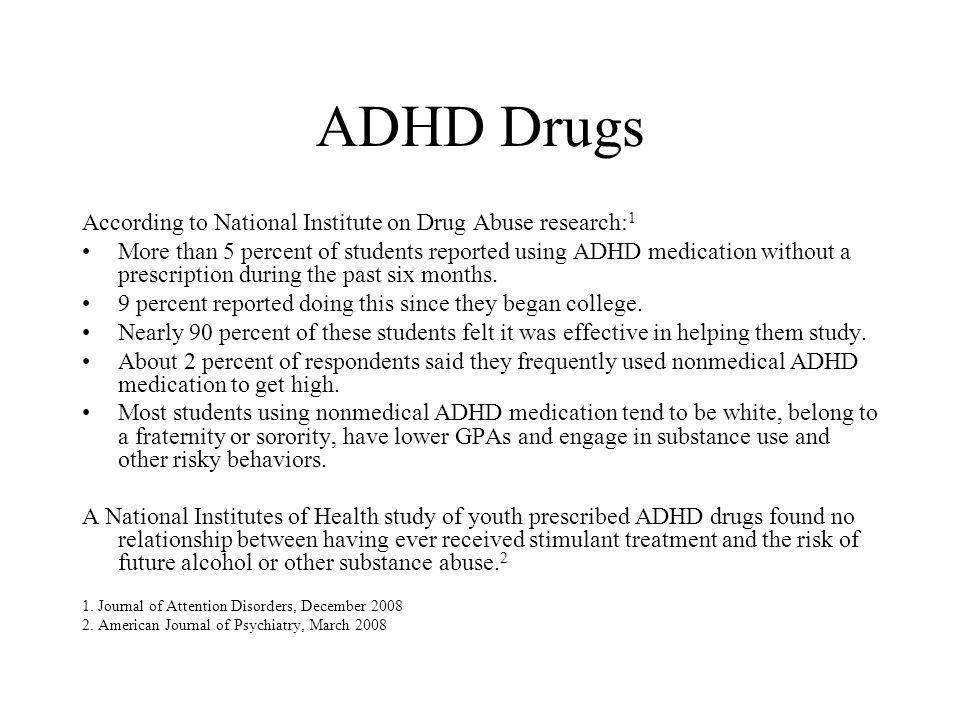 ADHD Drugs According to National Institute on Drug Abuse research:1