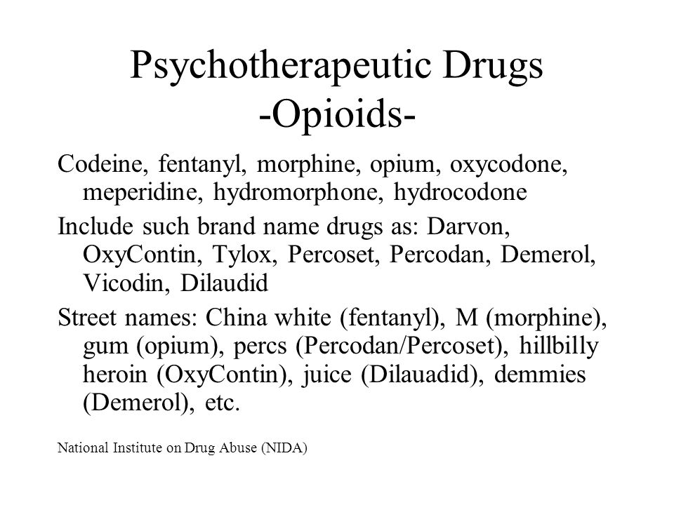 Psychotherapeutic Drugs -Opioids-