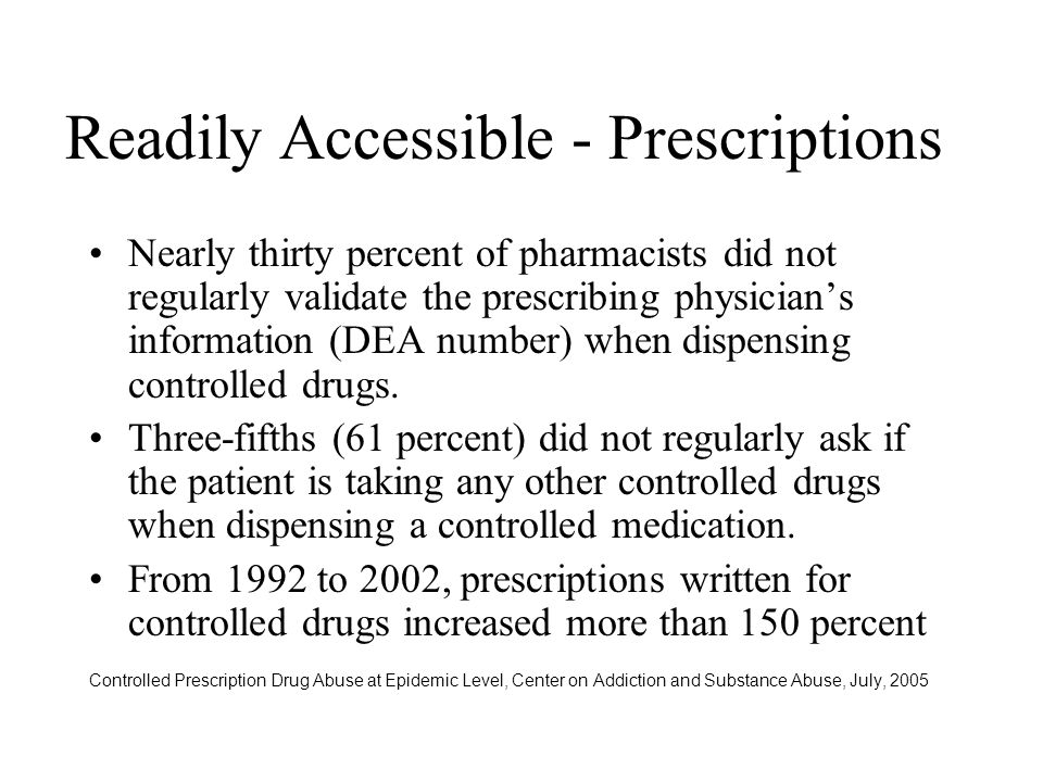 Readily Accessible - Prescriptions