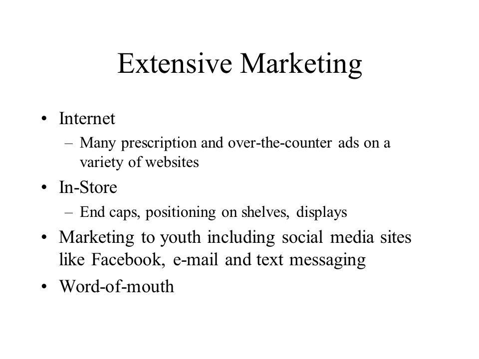 Extensive Marketing Internet In-Store