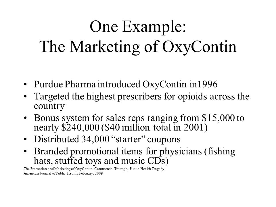 One Example: The Marketing of OxyContin