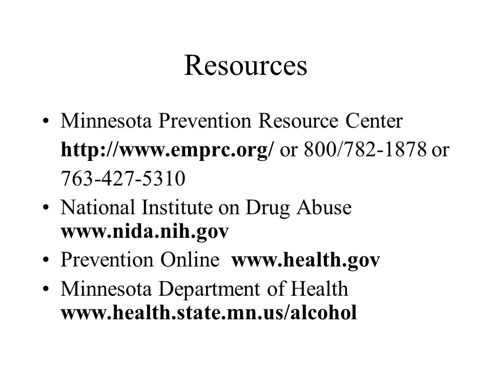 Resources Minnesota Prevention Resource Center