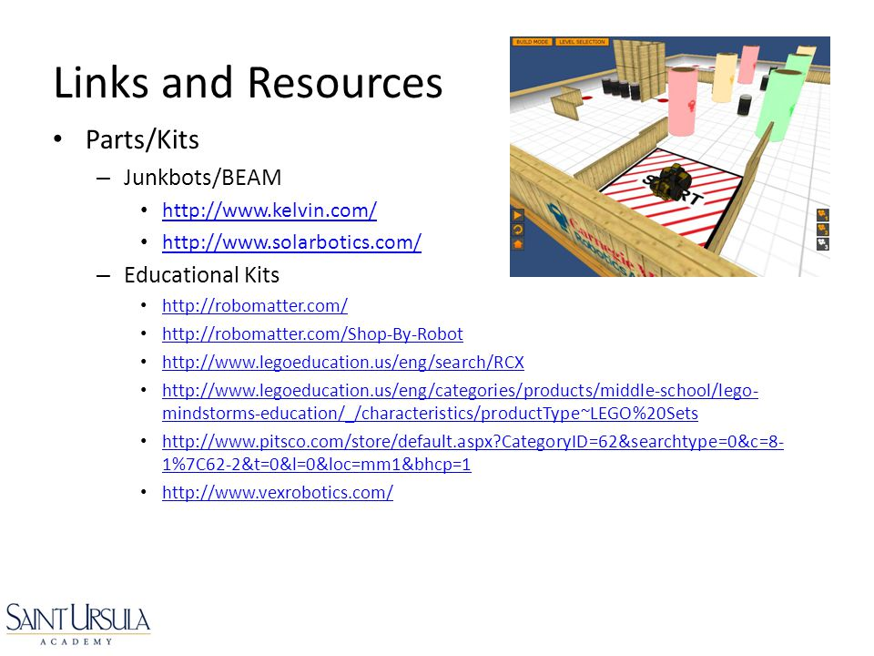 Links and Resources Parts/Kits Junkbots/BEAM Educational Kits
