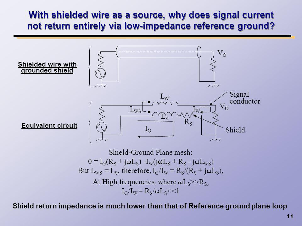 With shielded wire as a source, why does signal current not return entirely via low-impedance reference ground