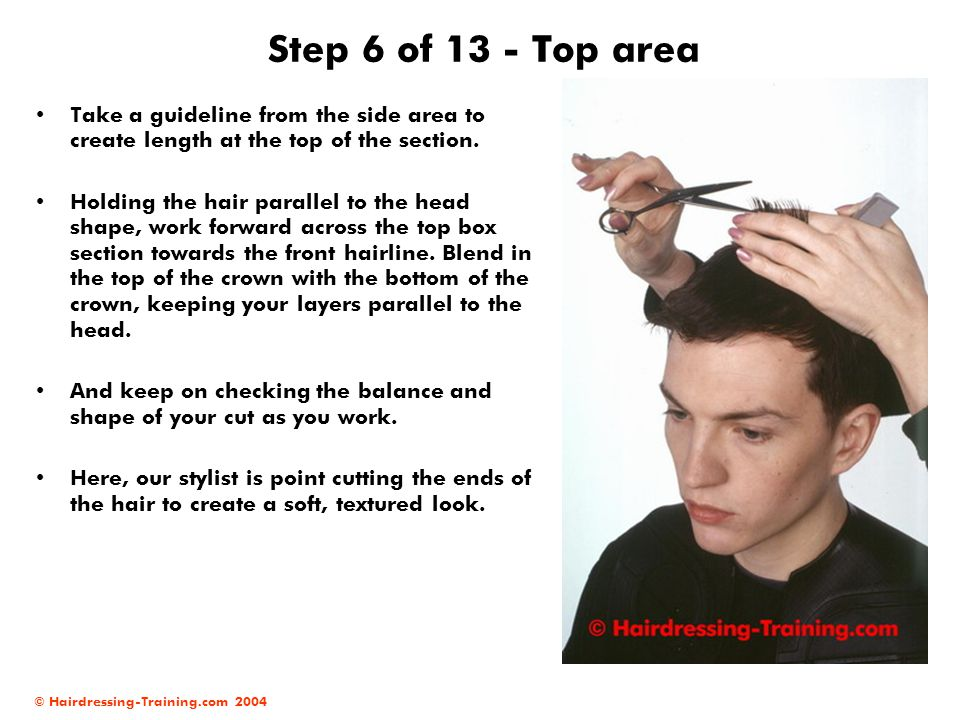 Step 6 of 13 - Top area Take a guideline from the side area to create length at the top of the section.
