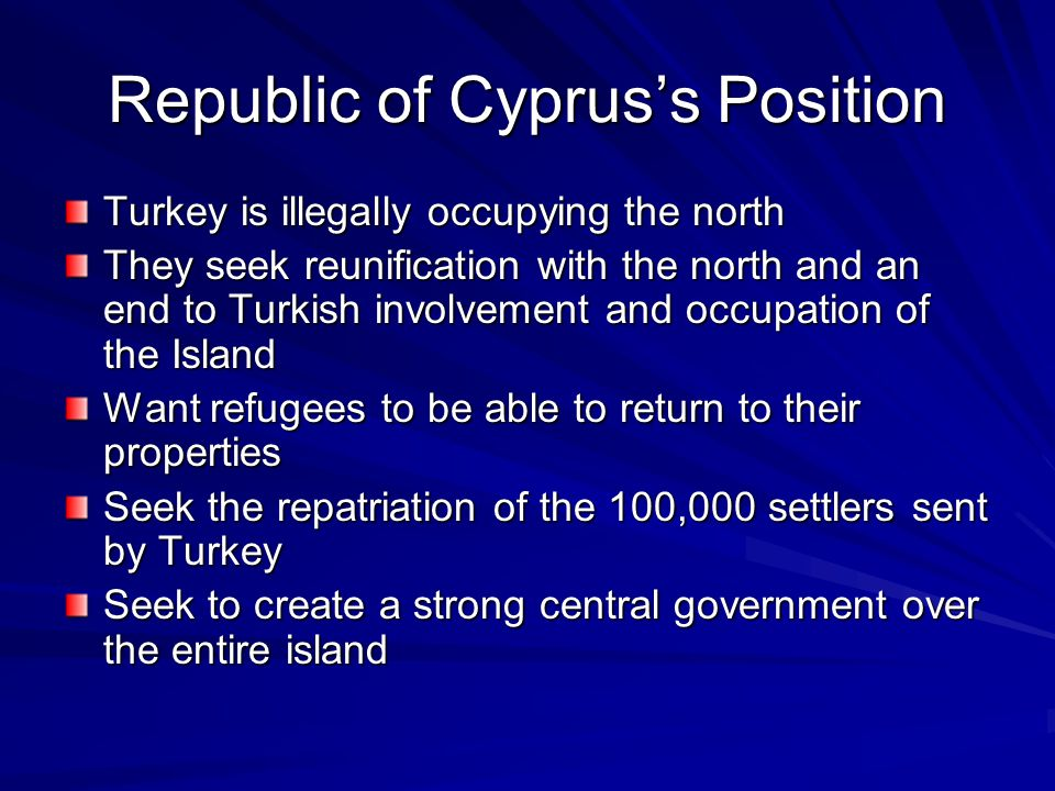 Republic of Cyprus's Position