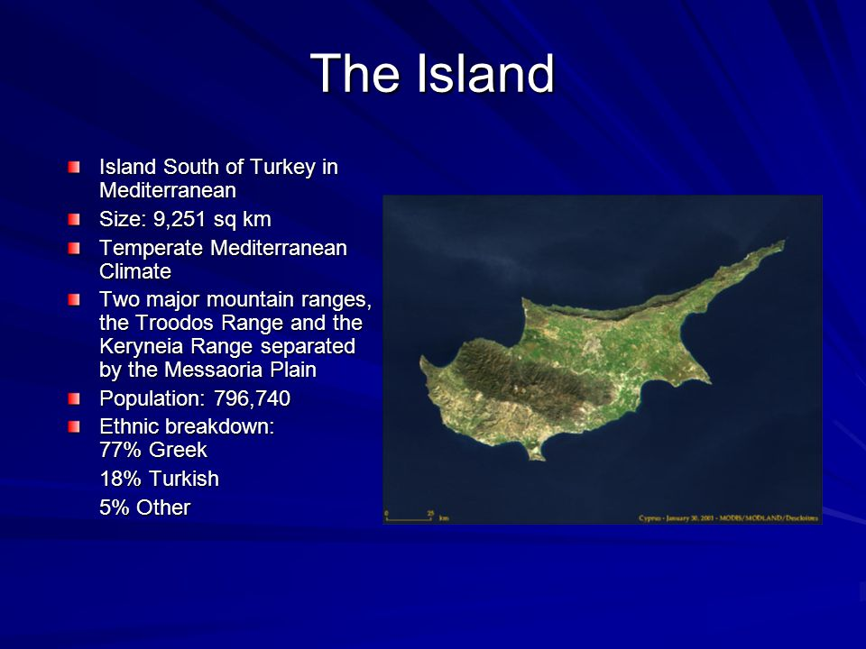 The Island Island South of Turkey in Mediterranean Size: 9,251 sq km