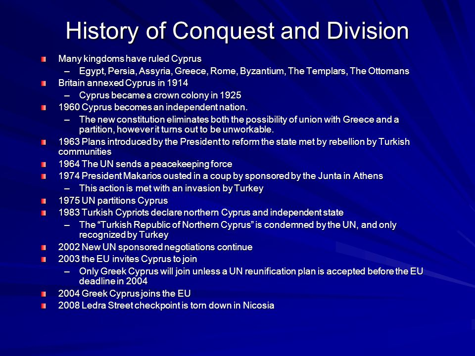 History of Conquest and Division
