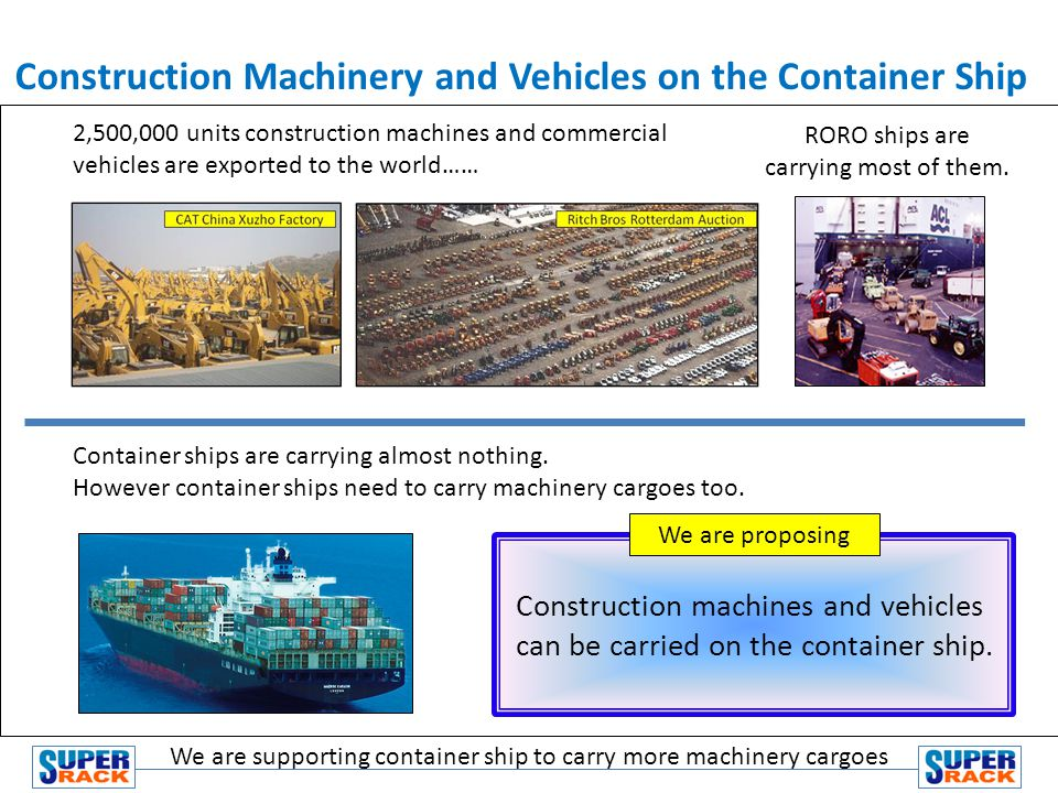 Construction Machinery and Vehicles on the Container Ship