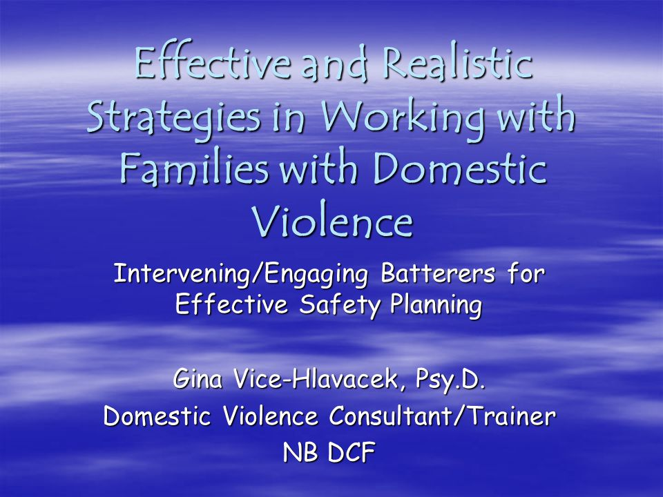 Effective and Realistic Strategies in Working with Families with Domestic Violence