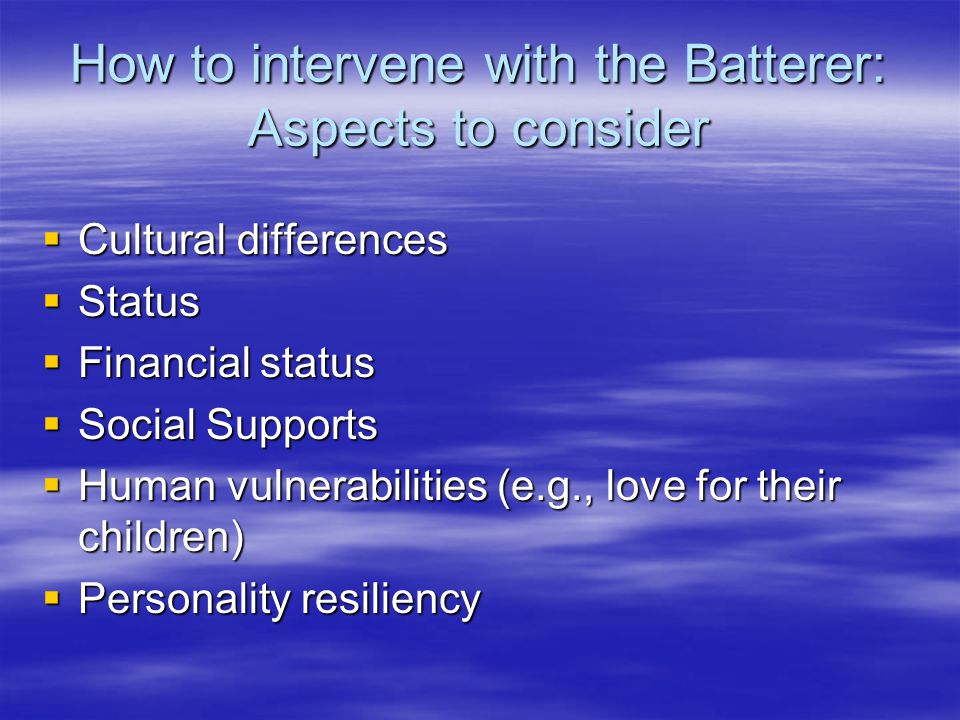 How to intervene with the Batterer: Aspects to consider