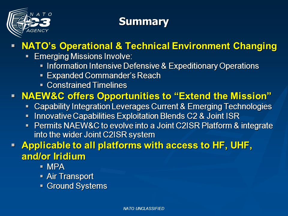 Summary NATO's Operational & Technical Environment Changing