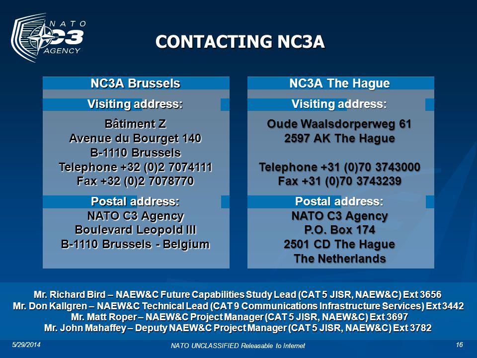 Mr. Matt Roper – NAEW&C Project Manager (CAT 5 JISR, NAEW&C) Ext 3697