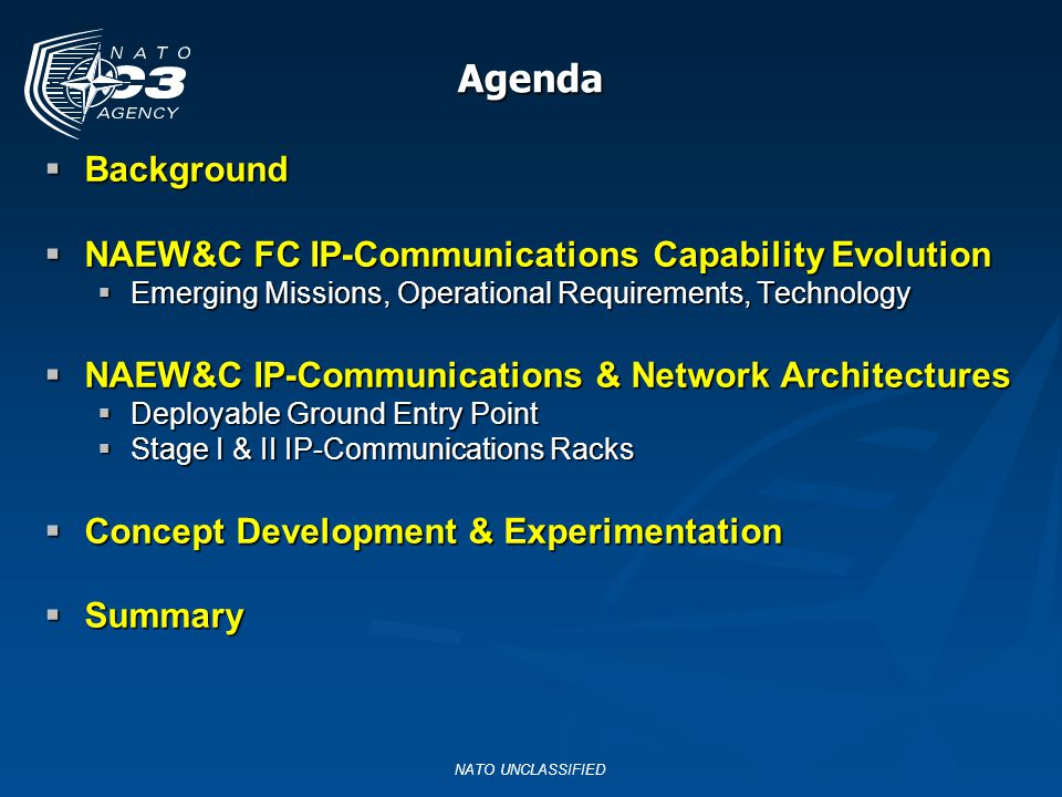 Agenda Background NAEW&C FC IP-Communications Capability Evolution