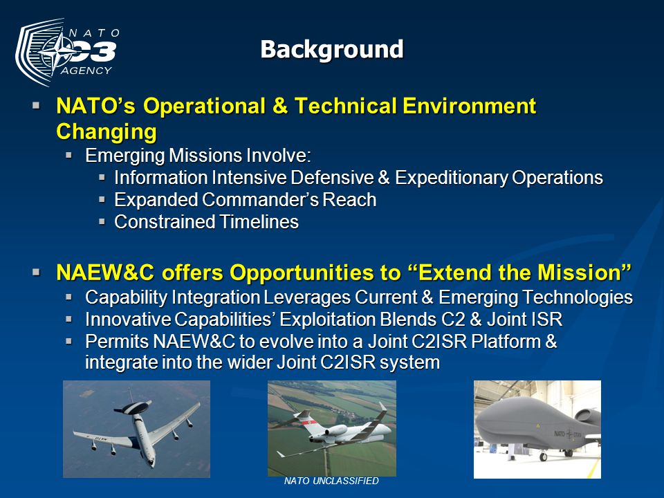 Background NATO's Operational & Technical Environment Changing