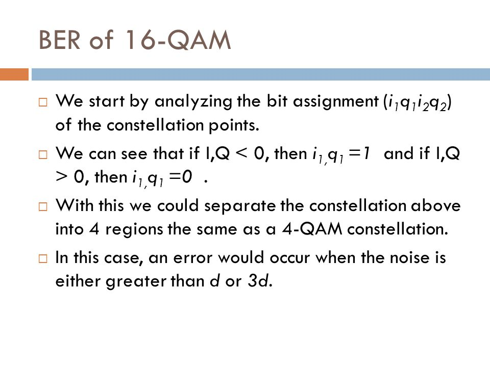 BER of 16-QAM We start by analyzing the bit assignment (i1q1i2q2) of the constellation points.