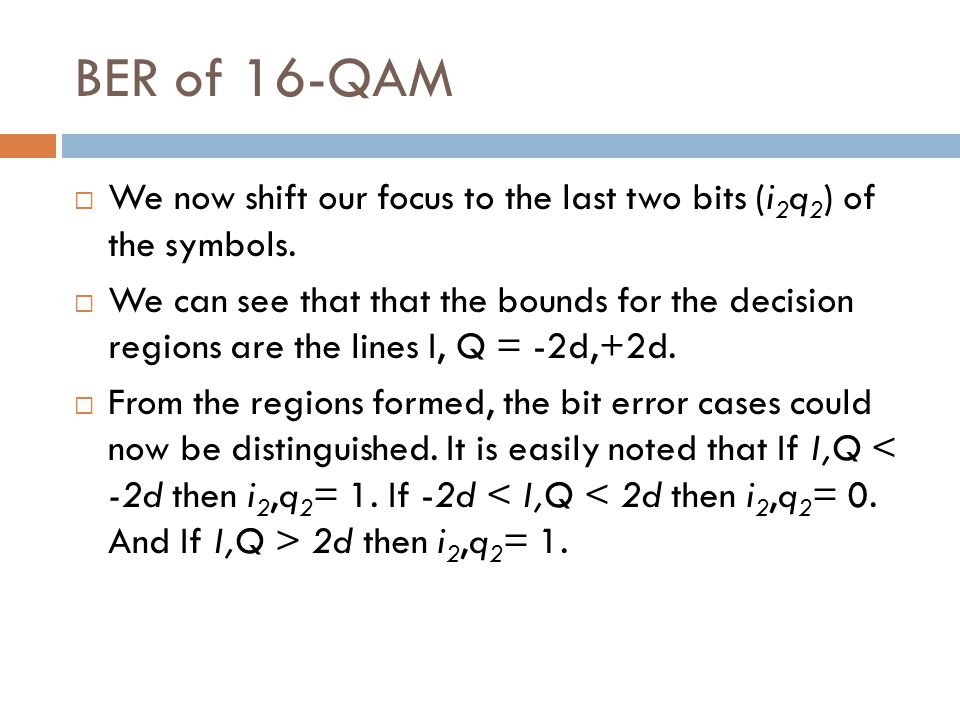 BER of 16-QAM We now shift our focus to the last two bits (i2q2) of the symbols.