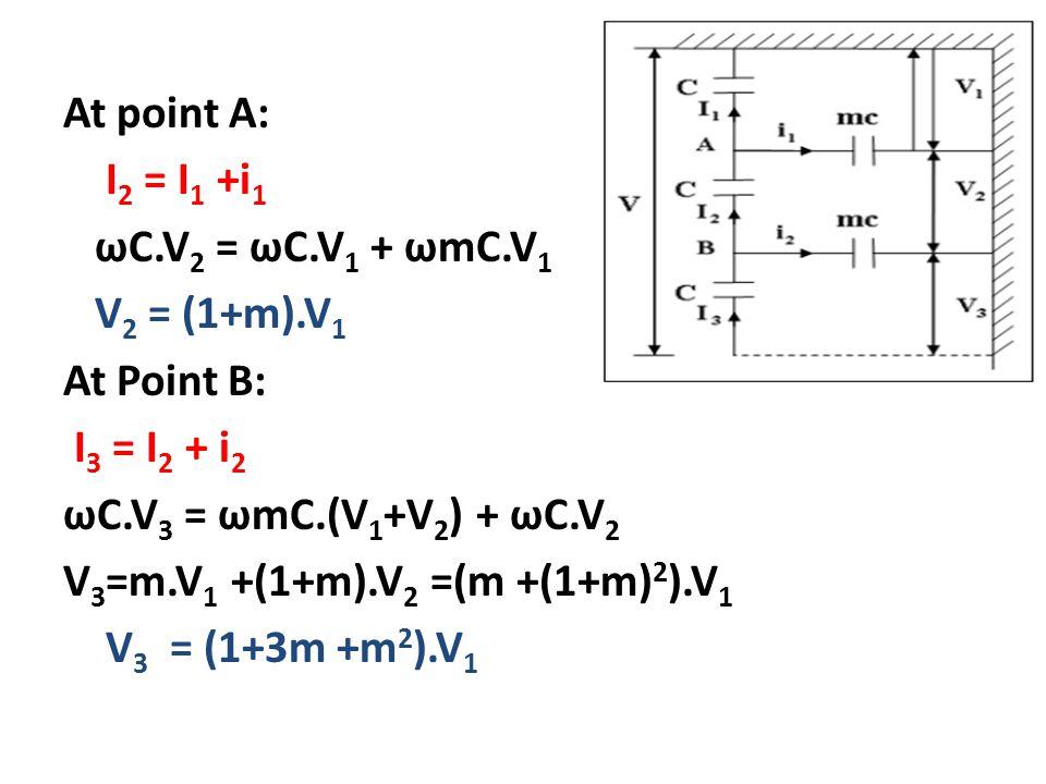 At point A: I2 = I1 +i1 ωC. V2 = ωC. V1 + ωmC. V1 V2 = (1+m)