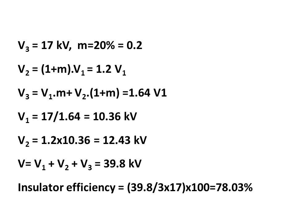 V3 = 17 kV, m=20% = 0. 2 V2 = (1+m). V1 = 1. 2 V1 V3 = V1. m+ V2