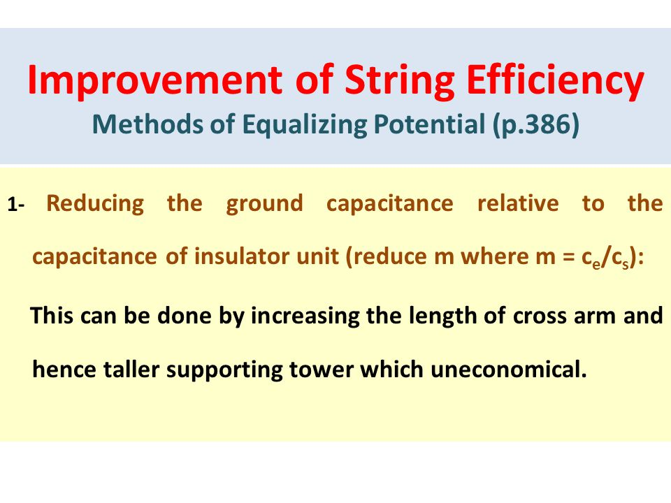 Improvement of String Efficiency Methods of Equalizing Potential (p