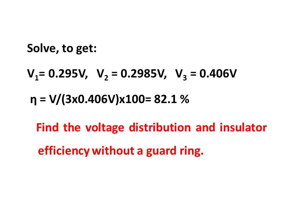 Solve, to get: V1= 0. 295V, V2 = 0. 2985V, V3 = 0. 406V η = V/(3x0