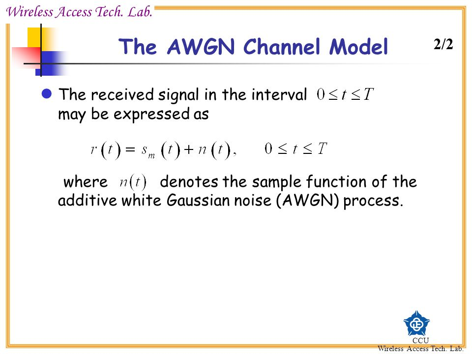 The AWGN Channel Model 2/2