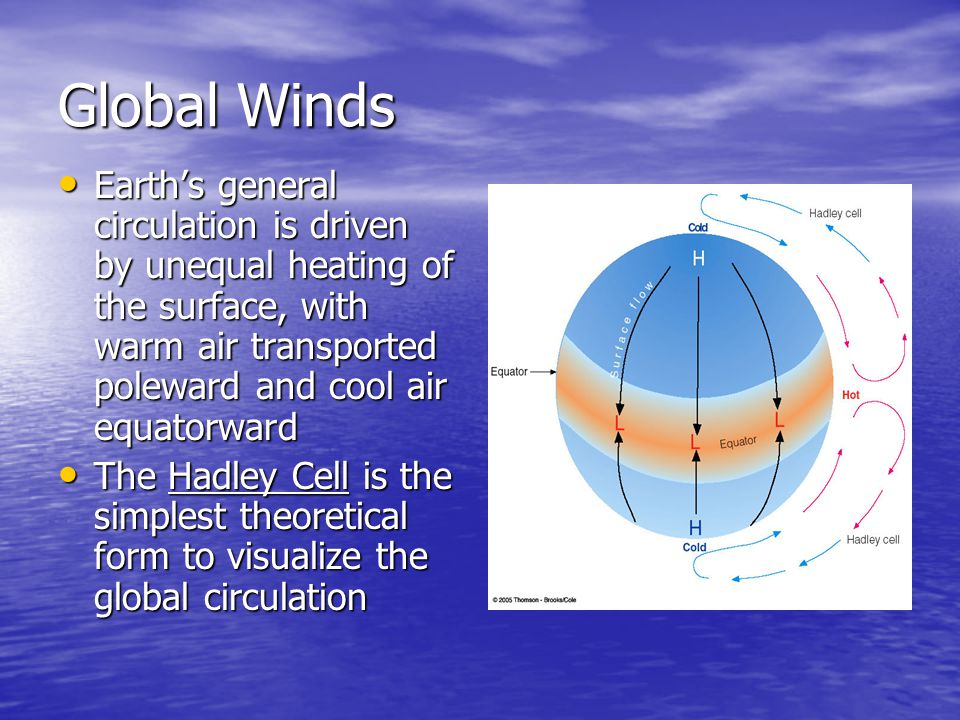 Global Winds Earth's general circulation is driven by unequal heating of the surface, with warm air transported poleward and cool air equatorward.