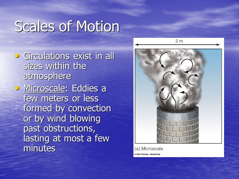 Scales of Motion Circulations exist in all sizes within the atmosphere