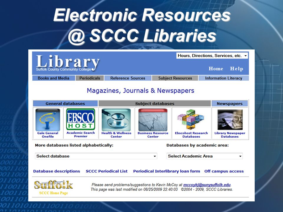 Electronic Resources @ SCCC Libraries