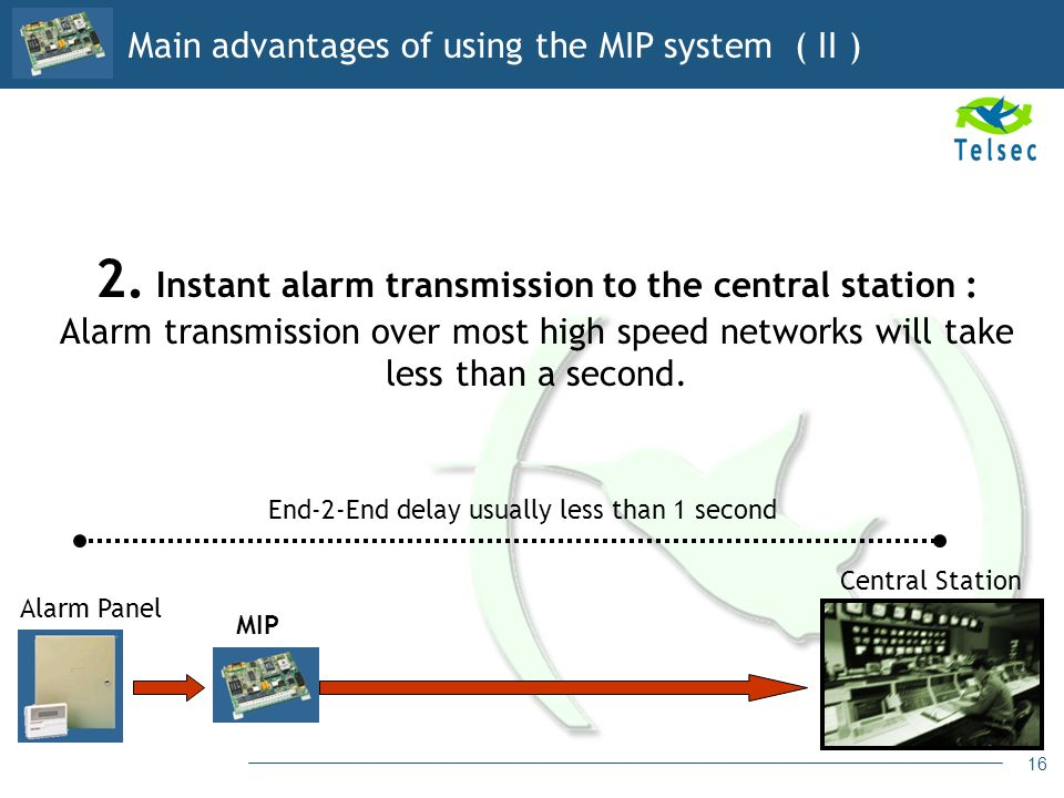 Main advantages of using the MIP system ( II )