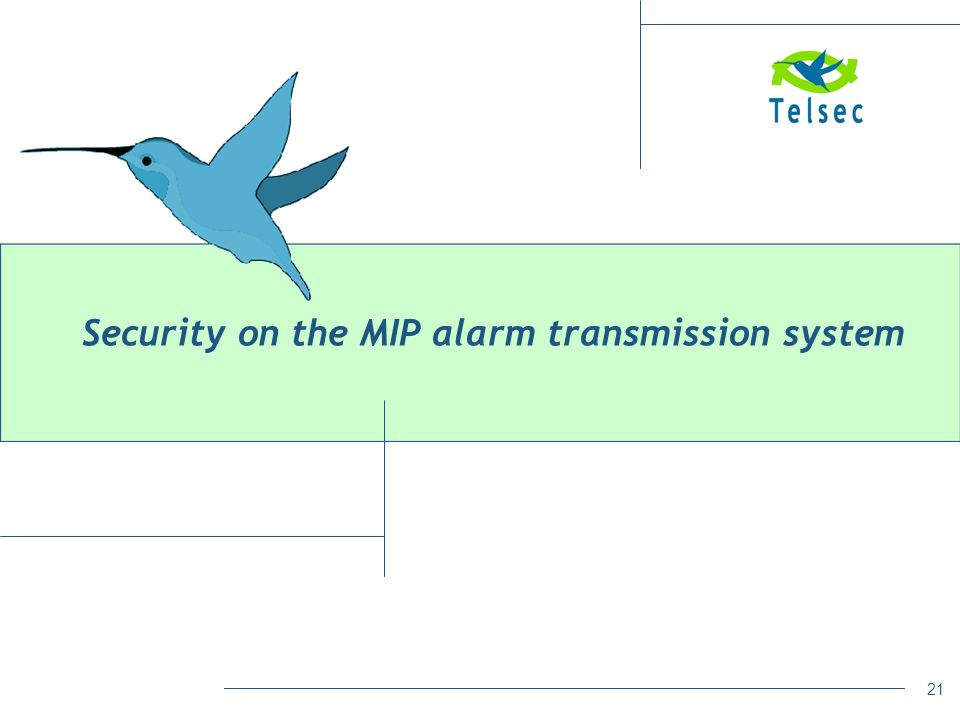 Security on the MIP alarm transmission system