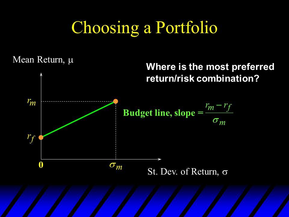 Choosing a Portfolio Mean Return,  Where is the most preferred