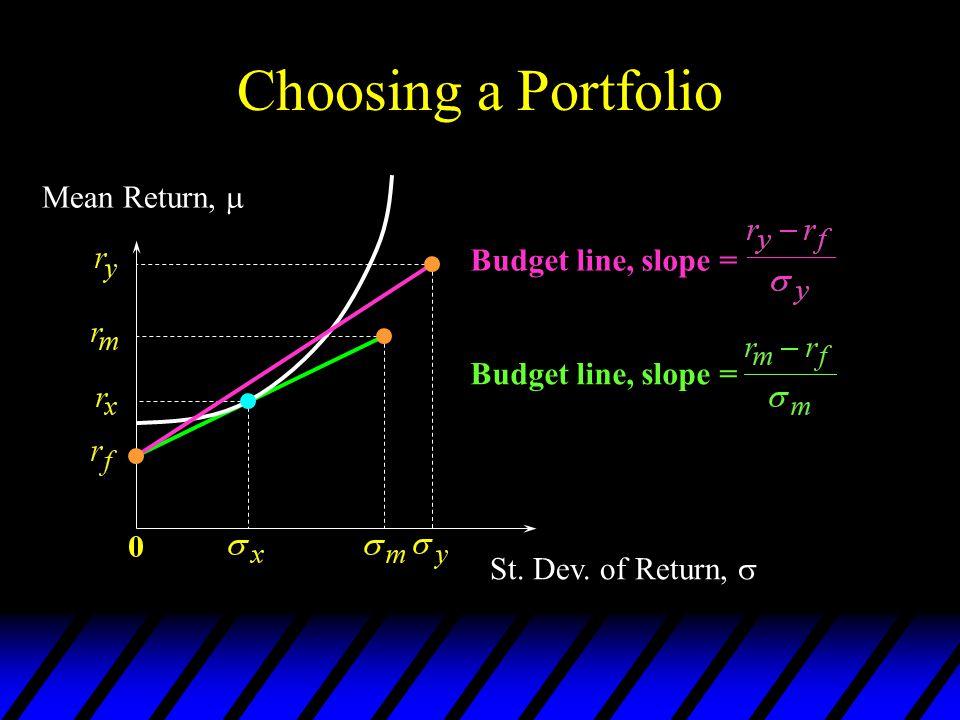 Choosing a Portfolio Mean Return,  Budget line, slope =