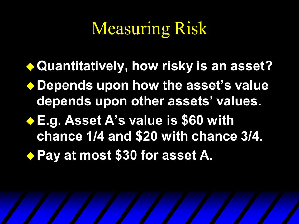 Measuring Risk Quantitatively, how risky is an asset