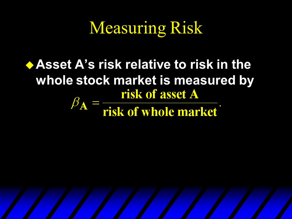 Measuring Risk Asset A's risk relative to risk in the whole stock market is measured by