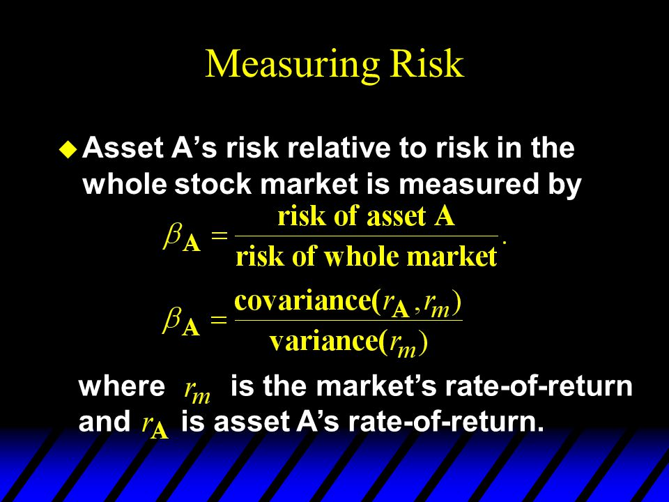 Measuring Risk Asset A's risk relative to risk in the whole stock market is measured by. where is the market's rate-of-return.