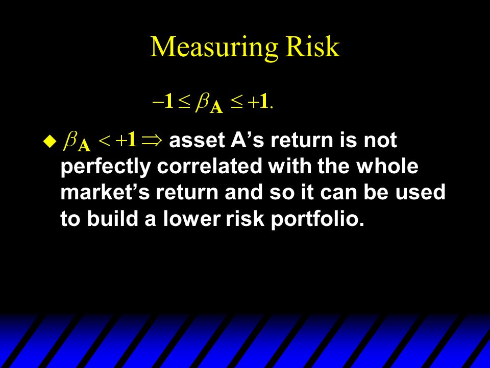 Measuring Risk asset A's return is not perfectly correlated with the whole market's return and so it can be used to build a lower risk portfolio.