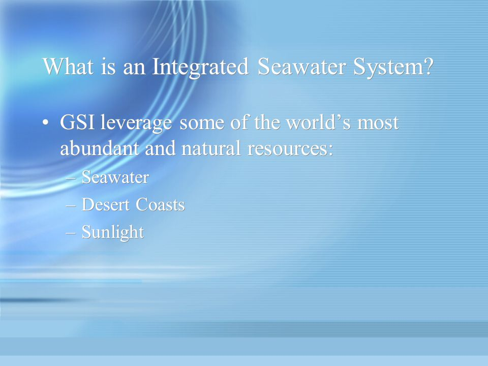 What is an Integrated Seawater System